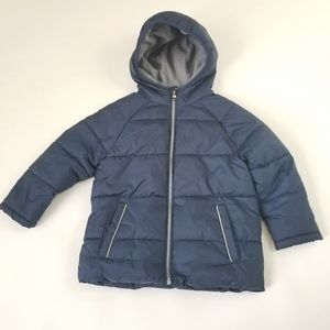 Wonder Nation blue and gray hooded puffer jacket
